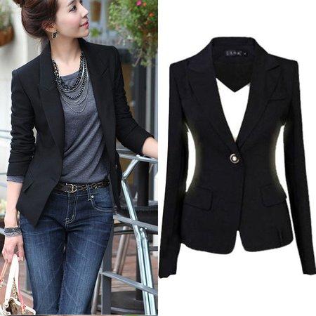 New Fashion Women Blazer Jacket Suit Casual Black Coat Single Button Slim Outerwear Woman Blaser Feminino Female S 3XL|blaser feminino|womens blazer jacket|women blazer - AliExpress