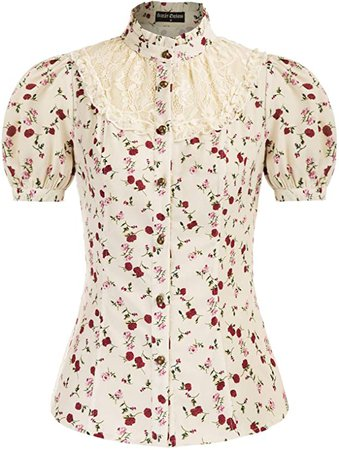 Women Victorian Short Sleeve Blouse Lace Patchwork Vintage Collared Shirt at Amazon Women's Clothing store