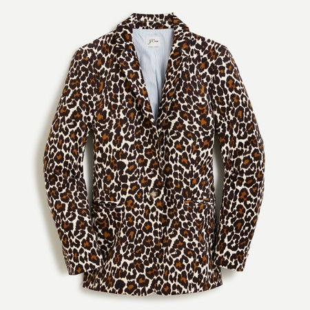 J.Crew: Parke Blazer In Leopard Stretch Corduroy For Women