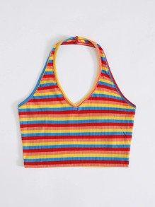Rainbow Striped Rib-knit Halter Top   SHEIN USA