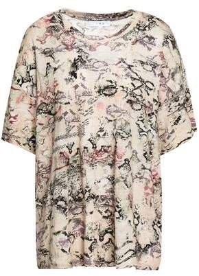 Snake-print Slub Linen-jersey T-shirt