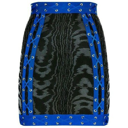 Zebra Print Skirt With Blue Outline