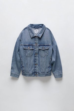 OVERSIZED DENIM JACKET | ZARA United States blue