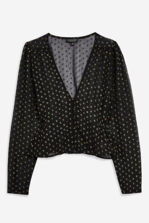 Metallic Thread Spot Peplum Blouse - Shirts & Blouses - Clothing - Topshop Europe