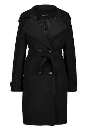 Tall Military Double Breasted Wool Look Coat black