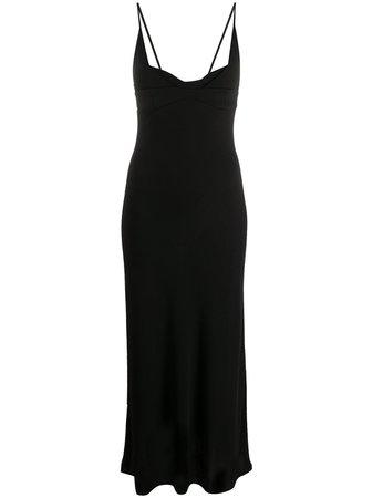 Black Jil Sander plunge-neck midi dress JSPR715056WR397508 - Farfetch