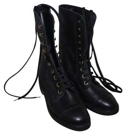 Chanel Black Leather Combat Cha256923 Boots/Booties Size EU 36 (Approx. US 6) Regular (M, B) - Tradesy