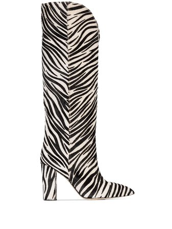 Paris Texas zebra-print 100mm knee-high Boots - Farfetch