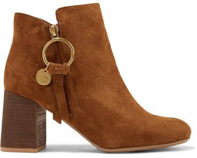 Suede Ankle Boots - Light brown