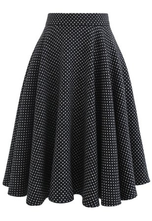 Polka Dots Wool-Blend Flare Skirt - Retro, Indie and Unique Fashion