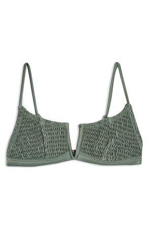 Topshop Smocked V-Wire Bikini Top | Nordstrom