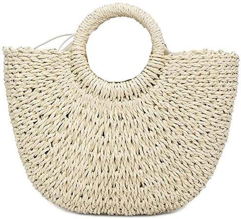 Amazon.com: Straw Handbags Women Handwoven Round Corn Straw Bags Natural Chic Hand Large Summer Beach Tote Woven Handle Shoulder Bag (Handbag-Beige): Shoes