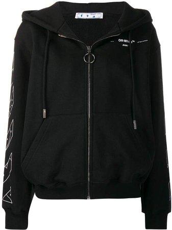Off White arrow print zipped hoodie