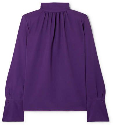 Silk-crepe Turtleneck Blouse - Purple