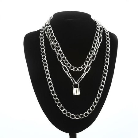 Gothic Grunge Layered Chain Padlock Necklace – ROCK 'N DOLL