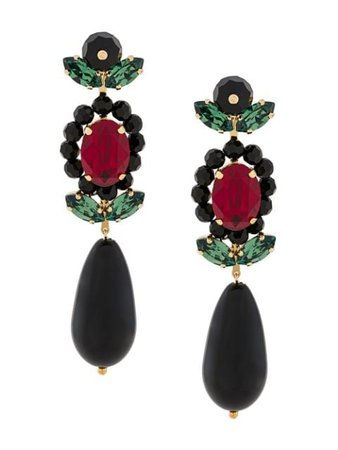 Simone Rocha Crystal Embellished Drop Earrings ERG2020906 Black | Farfetch