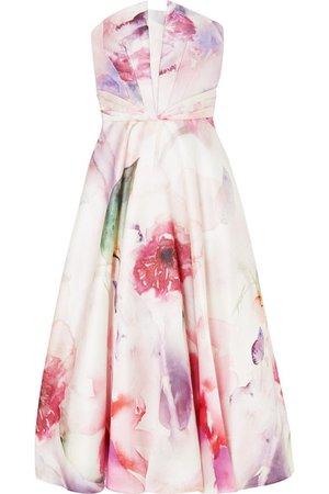 Marchesa Notte | Strapless floral-print mikado piqué gown | NET-A-PORTER.COM
