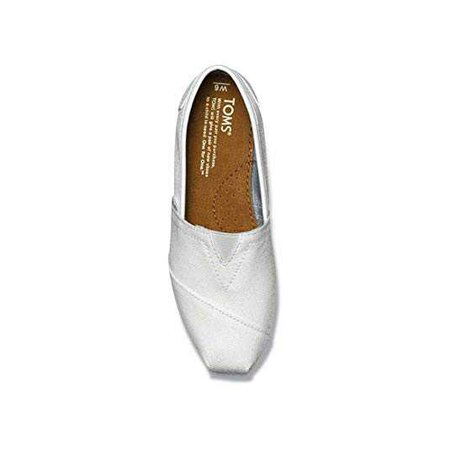 Amazon.com | TOMS Women's GLITTER CLASSICS CASUAL SHOES (WHITE GLITTER) (5.5) | Loafers & Slip-Ons