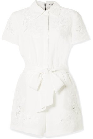 Alice + Olivia | Lanna guipure lace-trimmed Lyocell and linen-blend playsuit | NET-A-PORTER.COM