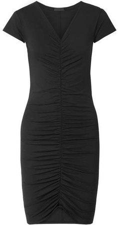 Ruched Stretch-pima Cotton Jersey Dress - Black