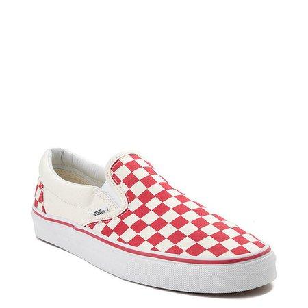 Vans Slip On Checkerboard Skate Shoe - Red / White |