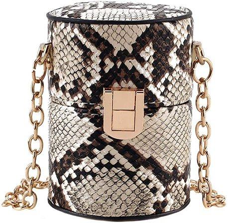 Heidi Women Fashion Snakeskin Print Chain Shoulder Bag Cylindrical Bucket Bag Coin Purse: Handbags: Amazon.com