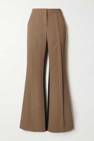 Saatchi Two-tone Twill Flared Pants - Brown