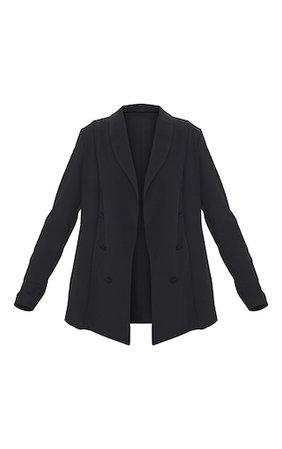 Black Triple Breasted Oversized Crepe Blazer   PrettyLittleThing