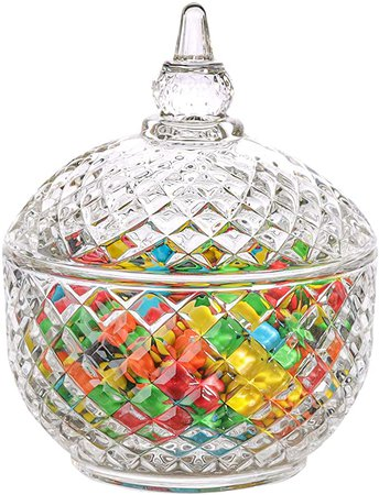 Amazon.com: ComSaf Glass Candy Dish with Lid Decorative Candy Bowl, Crystal Covered Candy Jar for Home Office Desk, Set of 1 (Diameter:3.7 Inch): Home & Kitchen