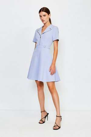 Zip Placket A Line Dress   Karen Millen