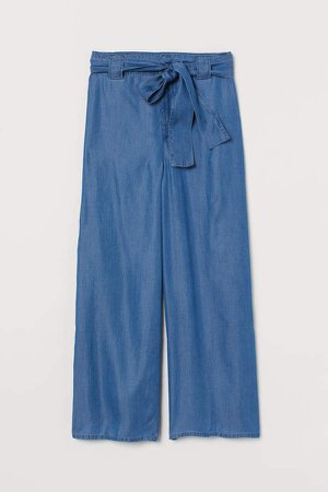 Wide-cut Lyocell Pants - Blue