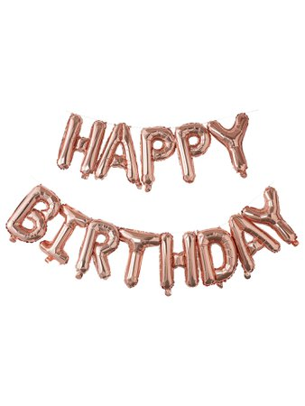 Ginger Ray Happy Birthday Balloon Bunting, Rose Gold at John Lewis & Partners