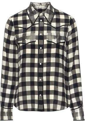 Caleb Metallic-trimmed Gingham Silk Shirt