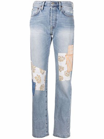 Shop Acne Studios patchwork straight-leg jeans with Express Delivery - FARFETCH