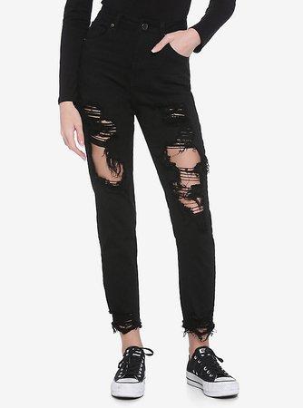 Black Destructed Crop Skinny Jeans