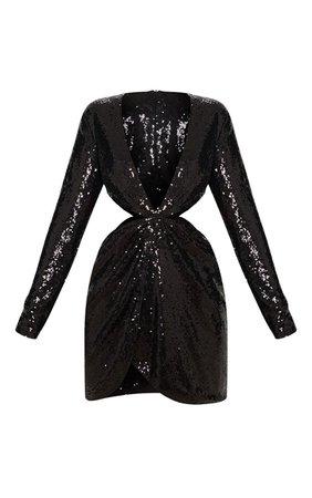 Black Sequin Long Sleeve Waist Cut Out Bodycon Mini Dress | PrettyLittleThing USA