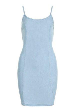 Chambray Strappy Shift Dress | boohoo