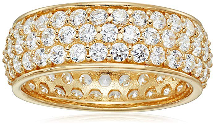 3-Row Round-Cut Pave Band Ring set with Swarovski Zirconia
