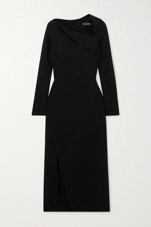 Black Draped stretch-wool crepe midi dress | Oscar de la Renta | NET-A-PORTER