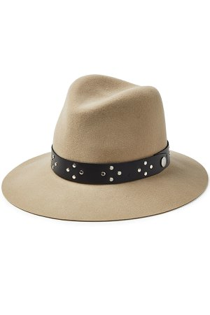 Floppy Wool Hat with Embellished Leather Trim Gr. L