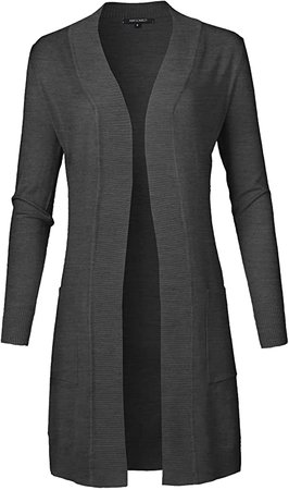 Women's Solid Soft Stretch Long-Line Long Sleeve Open Front Knit Cardigan at Amazon Women's Clothing store