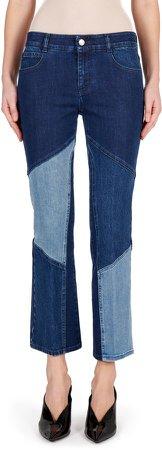 Patchwork Straight Leg Organic Cotton Blend Jeans