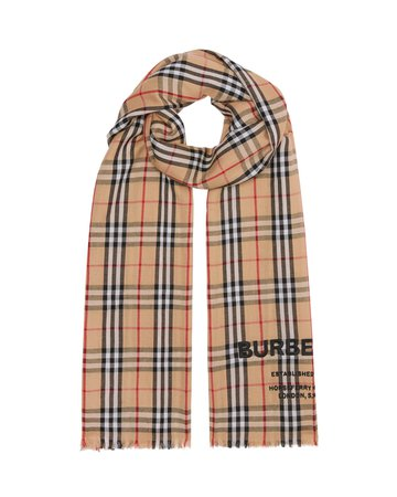 Burberry Logo Embroidered Vintage Check Lightweight Cashmere Scarf | Neiman Marcus