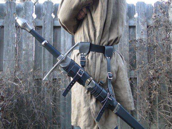 Leather Sword Holder Hanger Frog Strap Set Medieval | Etsy