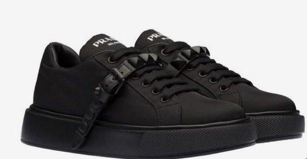 Prada Nylon Stud Sneakers Black