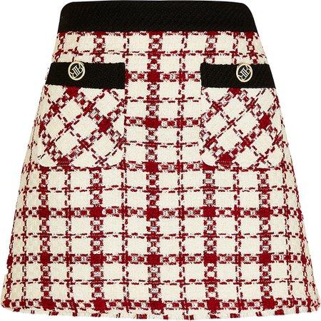 River Island red boucle mini skirt