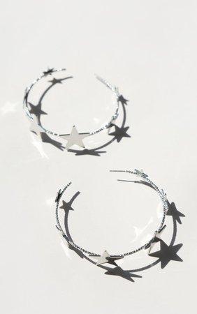 Silver Multi Star Hoop Earrings | PrettyLittleThing USA