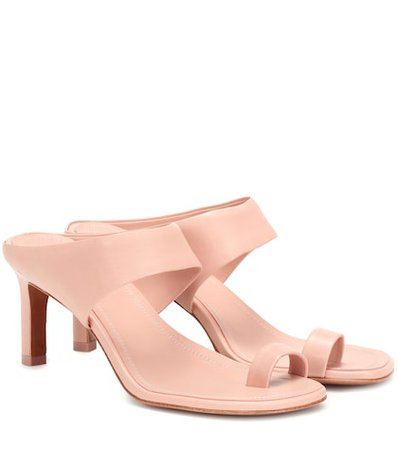 Strap leather mules