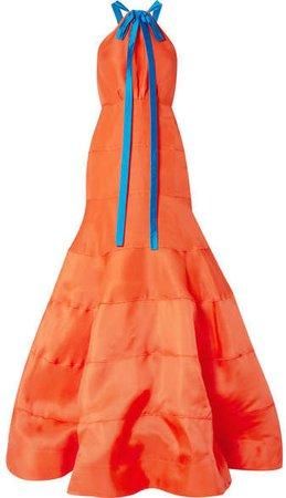 Bow-embellished Silk-gazar Gown - Papaya