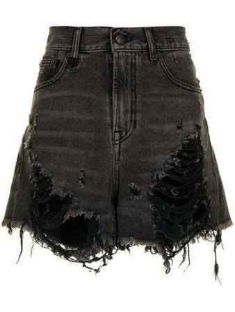 R13 shredded slouch denim shorts black R13W0190589SS21 - Farfetch